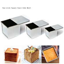 Mini Nonstick Square Loaf Pan, Aluminized Steel Bread Toast Mold with Cover Cake Baking Pastry Dessert Making Mould Lid