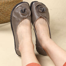 Casual Flats Shoes Womens Loafers Genuine-Leather Ladies Mom Flower Sweet Summer Female