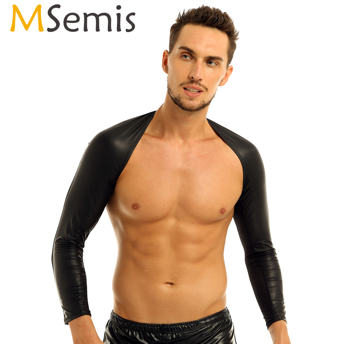 MSemis Sexy Lingerie Clubwear Men Faux Leather Top Hot Sexy BDSM Bondage Men Gay Fetish Leather Chest Harness Hollow Arm Warmers