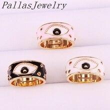 10 قطعة الذهب اللون المينا العين قابل للتعديل خواتم للنساء فتاة الأزياء خاتم CZ حزب مجوهرات العصرية خاتم هدية