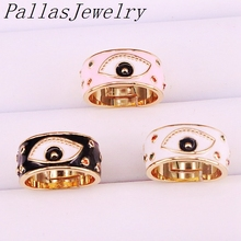10Pcs Gold Color enamel eye Adjustable Rings For Women Girl Fashion CZ Ring Party Jewelry Trendy Gift Ring