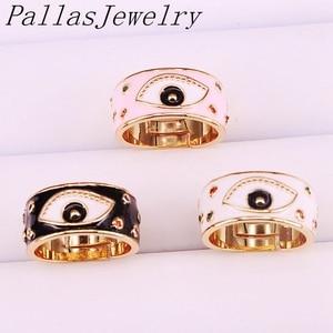 Image 1 - 10Pcs Goud Kleur enamel eye Verstelbare Ringen Voor Vrouwen Meisje Mode CZ Ring Partij Sieraden Trendy Gift Ring