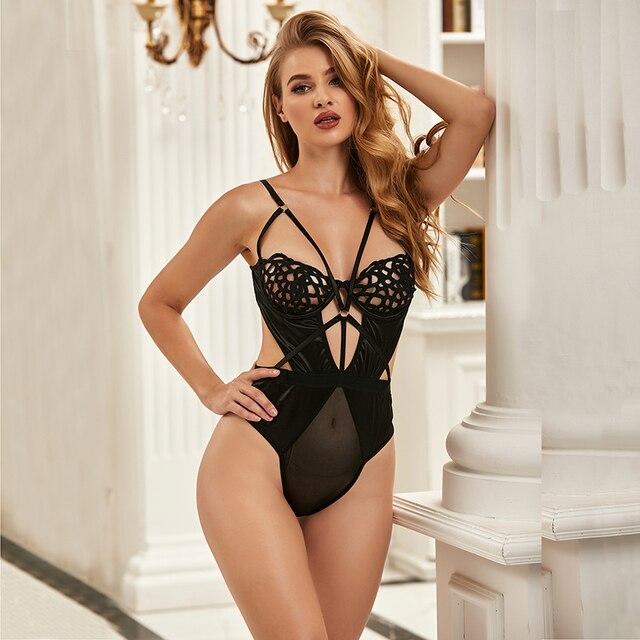 Erotic Catsuit Bodysuit Hollow Out Lingerie Backless Plus Size #F1624 3