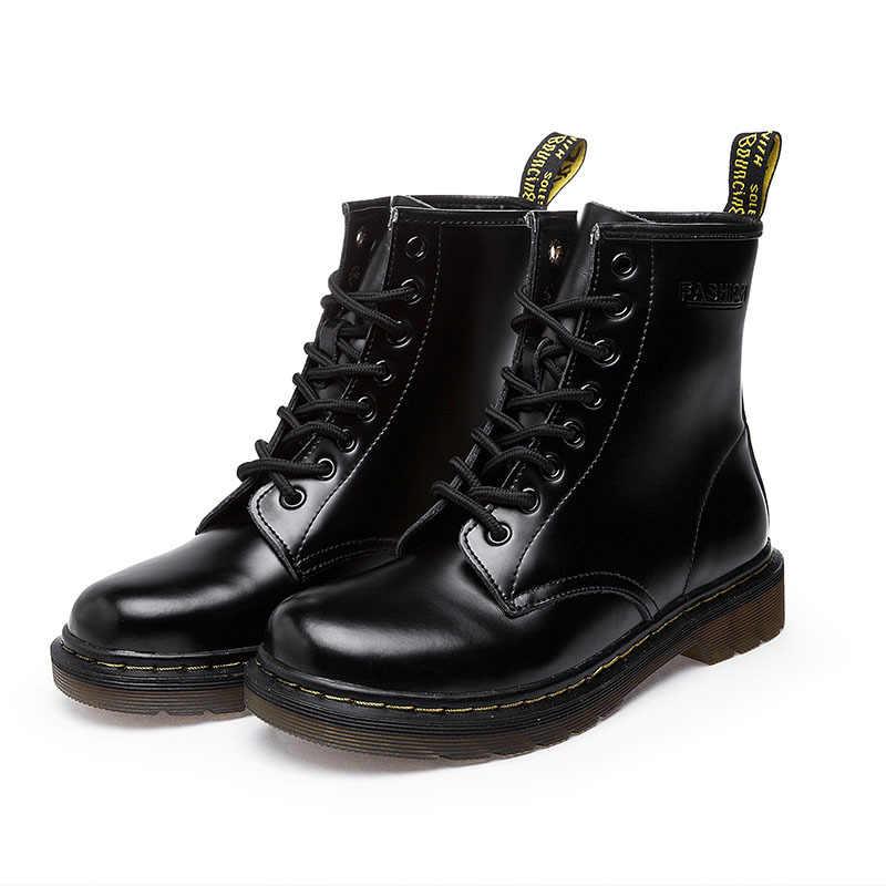 Schoenen Vrouwen Mode Enkellaarsjes Winter Enkellaarsjes Pu Leer Vrouwen Laarzen Werkschoenen Ronde Neus Lace-Up Vrouwen schoenen Zwarte Vrouwelijke