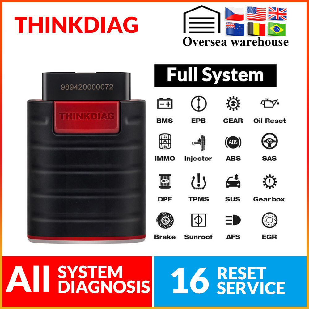 ThinkDiag All System Obd2 Obdii Code Reader Scanner Work With Smart Phone 15 Reset Service ECU Coding Pk X431 Easydiag 3.0 Golo