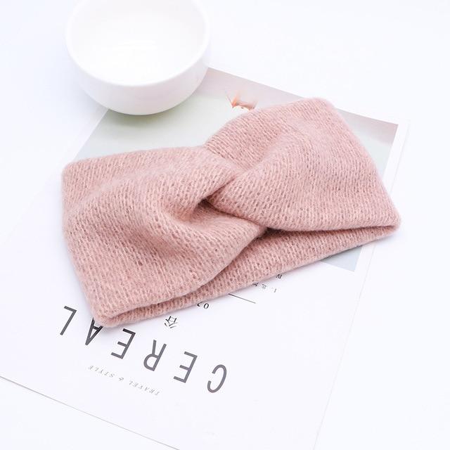 Women Solid Knitting Cross Knot Woolen Warm Headbands Hair Holder Elastic Hairbands Turban Headwraps Fashion Hair Accessories 6