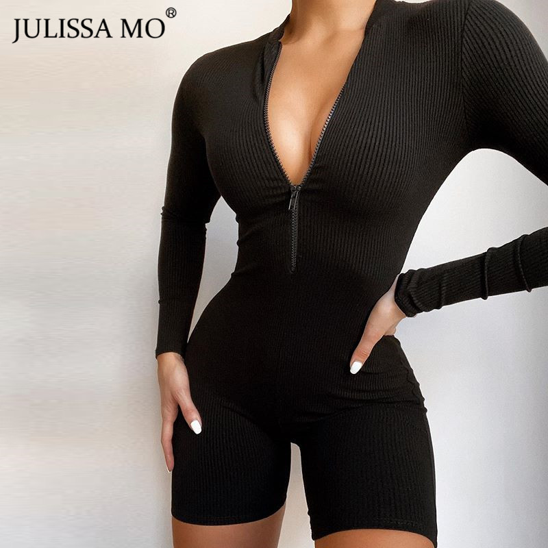 JULISSA MO Black Sexy V Neck Bodycon Playsuit Women Summer Short Sleeve Zipper Rompers Jumpsuit 2020 Casual Streetwear Bodysuit