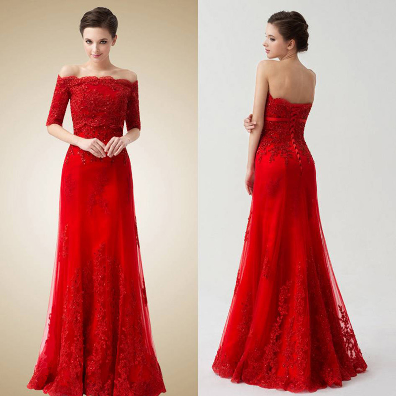 New Arrival Red Mermaid Party Prom Dress Boat Neck Vestidos De Noche Mother Of The Bride Dresses With Jacket 2015 Lace Appliques