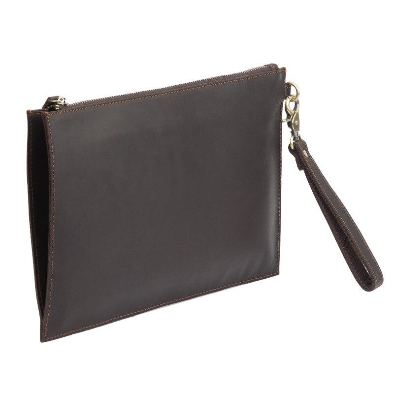 PNDME crazy horse en cuir pour hommes pochette simple vintage en cuir véritable sac de téléphone designer portefeuille sac de rangement sac à main de luxe - 4