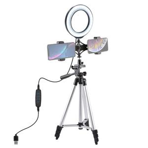 "Image 1 - 1.27M Aluminium Tripod+6.2""/16cm LED Ring Light + Dual Phone Clip Holder Bracket For Makeup Vlog Youtube Video TikTok LiveStream"