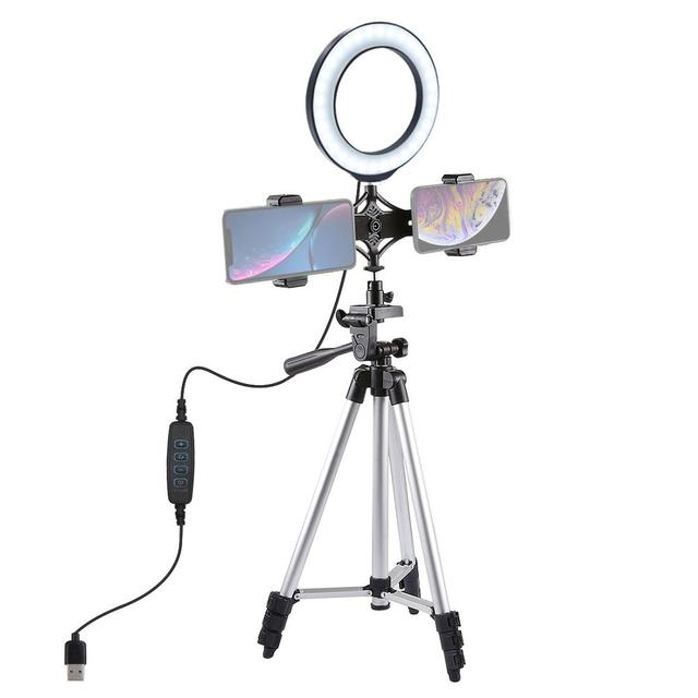 "1.27M Aluminium Tripod+6.2""/16cm LED Ring Light + Dual Phone Clip Holder Bracket For Makeup Vlog Youtube Video TikTok LiveStream"