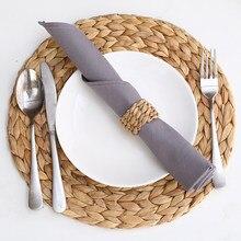 Set de Table en Rotin tissé, 2 pièces, napperon en Rotin, jacinthe d'eau, gourde, outil fait à la main, pour dîner, tasse de mariage, dessous de verre