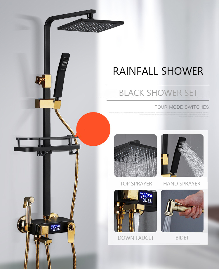 Digital Shower System Bathroom Wall Mounted Black Shower Set Square Head Rainfall Bath Faucet Hot Cold Mixer Shower System LED