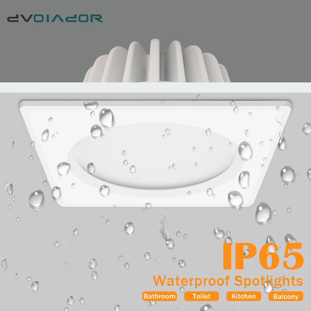 Waterproof LED Downlight 7W 9W 12W 15W Square Recessed Lamp AC110V 220V Indoor IP65 Bathroom Lights Outdoor LED Spot Lighting