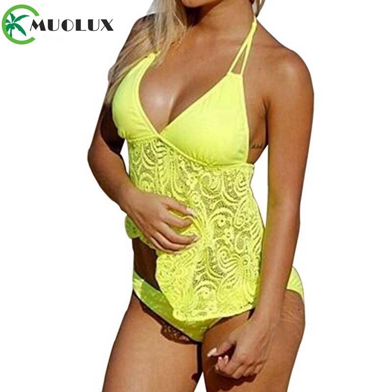 2019 New Mesh Bikini Set Sexy Halter Swimsuit Backless Low Waist Bathing Suit Push Up Large Size Women Swimwear Tankini S-5XL