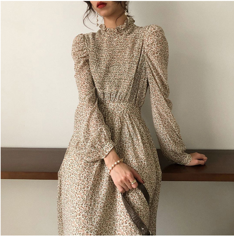H801c7289c8574e76b3994f8ecbf9c5b5R - Autumn Stand Collar Long Sleeves Waist-Controlled Floral Print Maxi Dress
