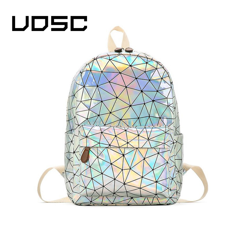 UOSC Holographic Women's Bag Hologram Leather Female Fashion Travel Backpack Laser For Girl School Bag Pack Mochila Feminina