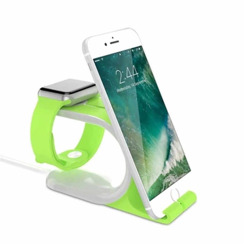 2 In 1 Multi Pengisian Dock Stand Docking Station Charger Pemegang untuk Saya Jam Tangan untuk iPhone Ponsel Tablet Dukungan