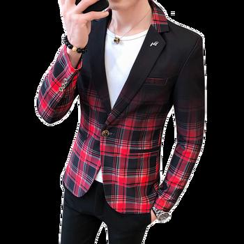 Mężczyźni Blazer wiosną i jesienią 2020 nowych moda kontrast kolor wzór w kratkę garnitur łączenie Slim Casual męskie garnitury Blazers tanie i dobre opinie COTTON Poliester REGULAR Jednego przycisku Pełna Na co dzień XF026 M L XL 2XL 3XL grid notched collar red yellow grey
