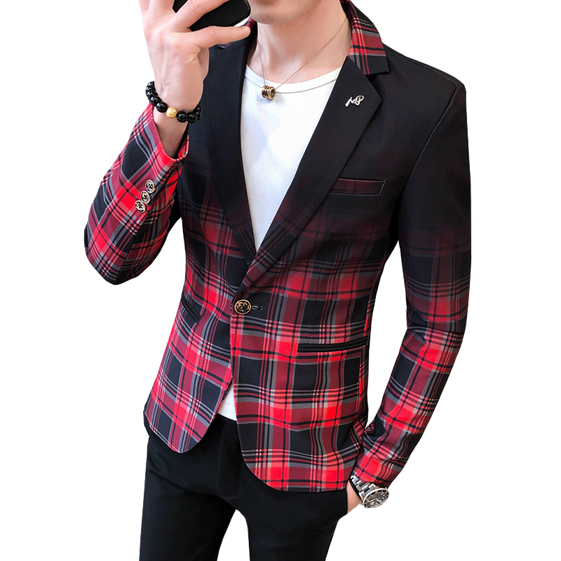 Men Blazer Spring And Autumn 2020 New Fashion Contrast Color Plaid Pattern Suit Splicing Slim Casual Mens Suits Blazers
