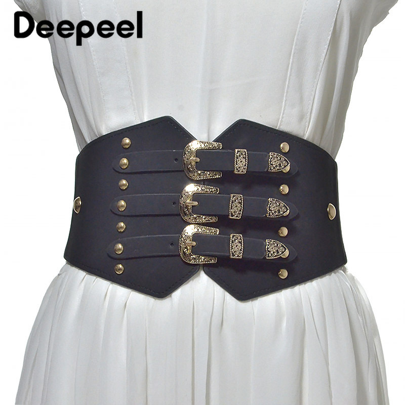 Deepeel1pc Women Vintage Pin Buckle Leather Cummerbunds Fashion Decoration Corset Belt DIY Crafts Luxury Elastic Wide Belt CB003