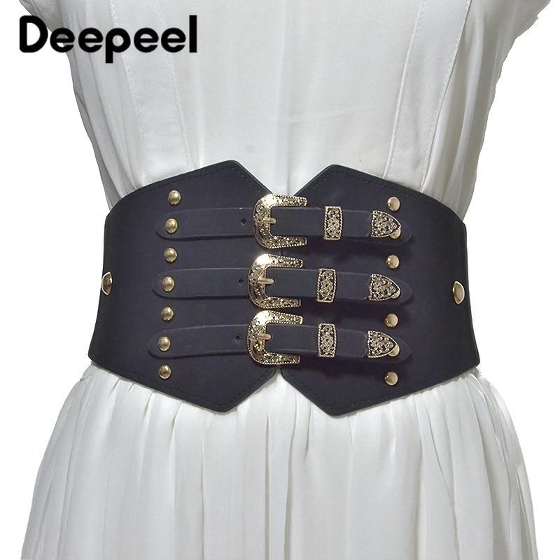 Deepeel1pc Women Vintage Pin Buckle Leather Cummerbunds Fashion Decoration Corset Belt DIY Crafts Luxury Elastic Wide Belt CB003