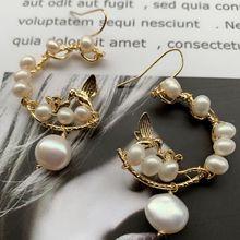 Natural pearl temperament jewelry fashion cc  earrings earhooks  Korean bird hoop shell boho trendy luxury bohemian earrings цена