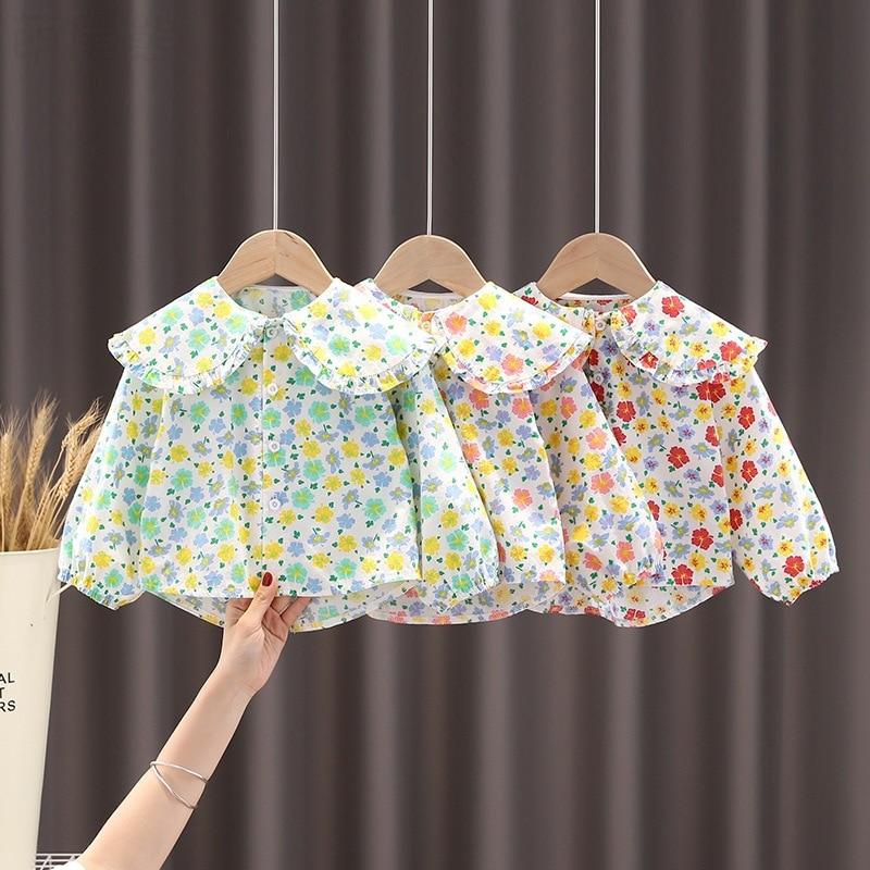 kids baby girls autumn long sleeve Peter Pan collar tops shirts toddler girl casual cotton blouses children shirts 6M-5Y