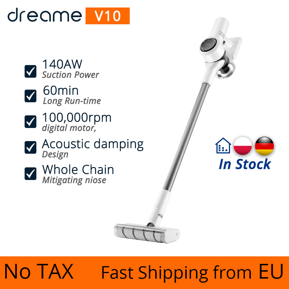 【EU Stock】Dreame V9 V10 Cordless Stick Vacuum Cleaner 22000Pa Suction Anti-winding Hair Mite Cleaning Long Run Time Fastshipping