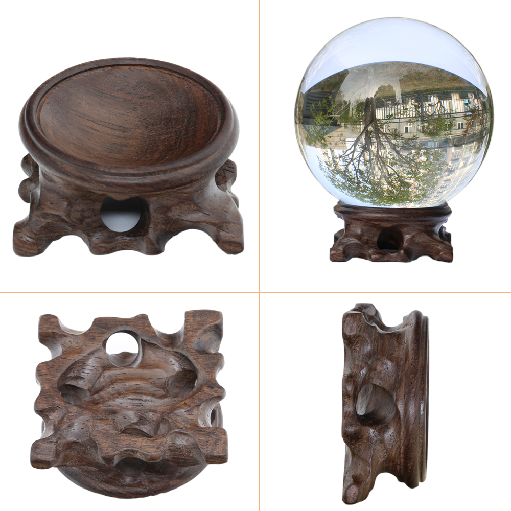 Wood Display Stand for Crystal Glass Lens Ball Large Divination Photography Lensball Base 40 60 80 100mm Big Magic Sphere Holder