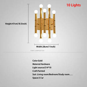 Wall-Lamp Lighting Sconce Fixtures Postmodern Gold Luxury Bamboo Living-Room Home-Decor