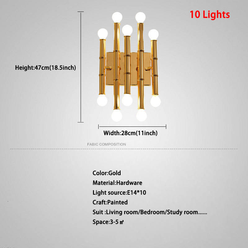 Postmodern Luxury Gold Bamboo Wall Lamp For Living Room Bedside Lamp 10 Light Wall Light Sconce Lighting Fixtures Home Decor Art