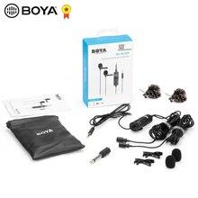 Микрофон BOYA с двойным кабелем, петличный микрофон с отворотом и зажимом для DSLR, Canon, Nikon, iPhone