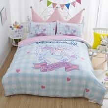 4 Pcs/set Lovely Anime Unicorn Cinnamoroll Cotton Bedding Set Cartoon Pattern Bedlinens Lattice Duvet Cover Bed Sheet Pillowcase