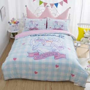 Image 1 - 4 Pcs/set Lovely Anime Unicorn Cinnamoroll Cotton Bedding Set Cartoon Pattern Bedlinens Lattice Duvet Cover Bed Sheet Pillowcase