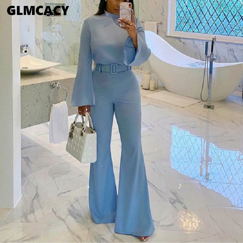 Women Spring Fall Elegant Office Workwear Casual Jumpsuits High Neck Bell Sleeve Wide Leg Jumpsuit Overalls
