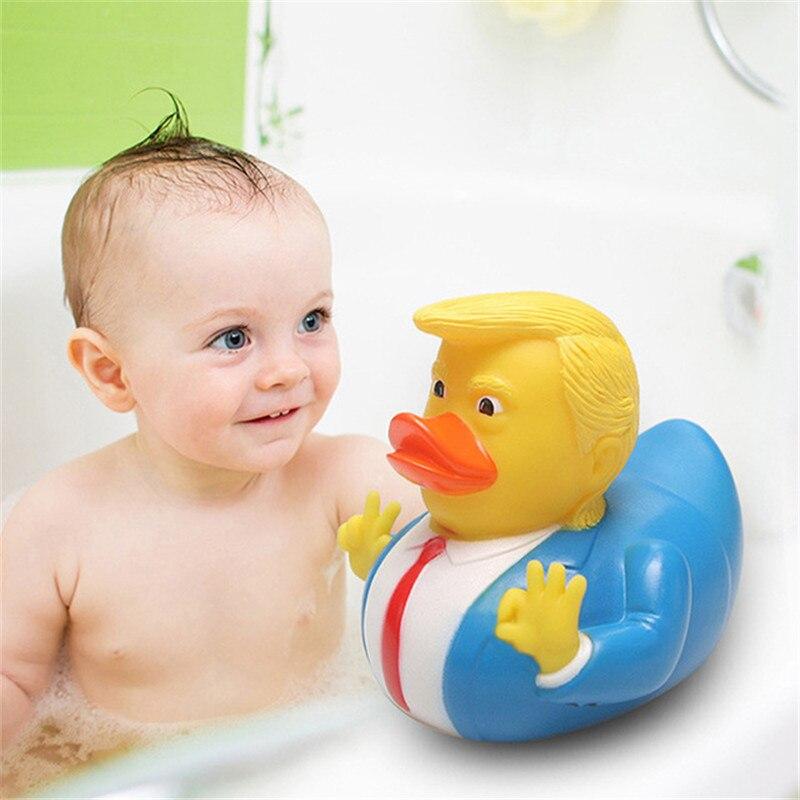 18 стилей желтая утка детские Игрушки для ванны американский Президент Трамп забавная резиновая утка со звуком скрипящие Игрушки для ванны ...