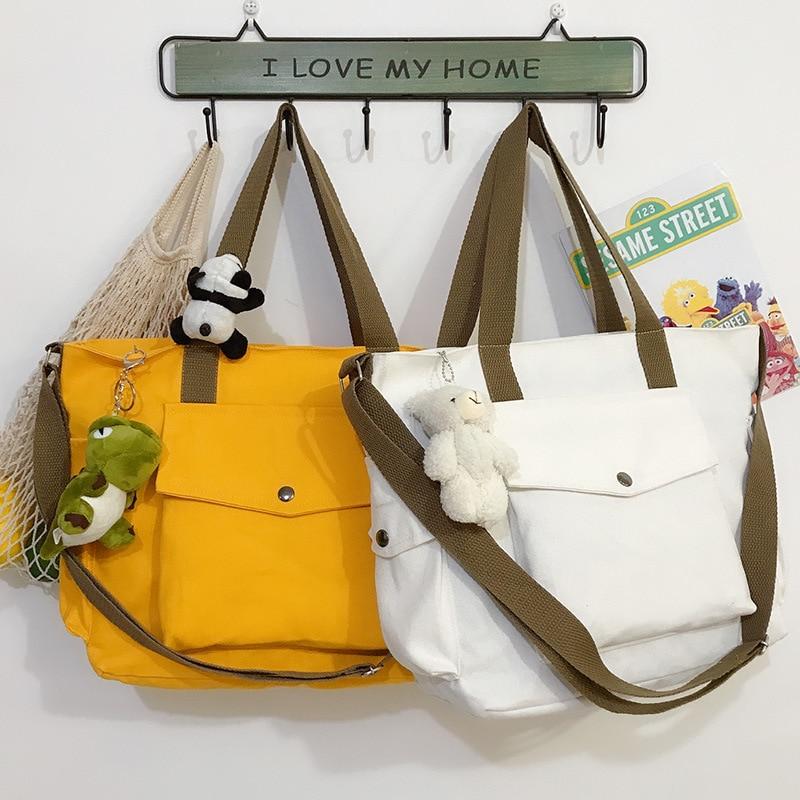 W632 Exterior Pocket Large Canvas Totes Ladies Casual Shoulder Bag Foldable Shopping Bags Beach Bag Boat Reusable Female Handbag