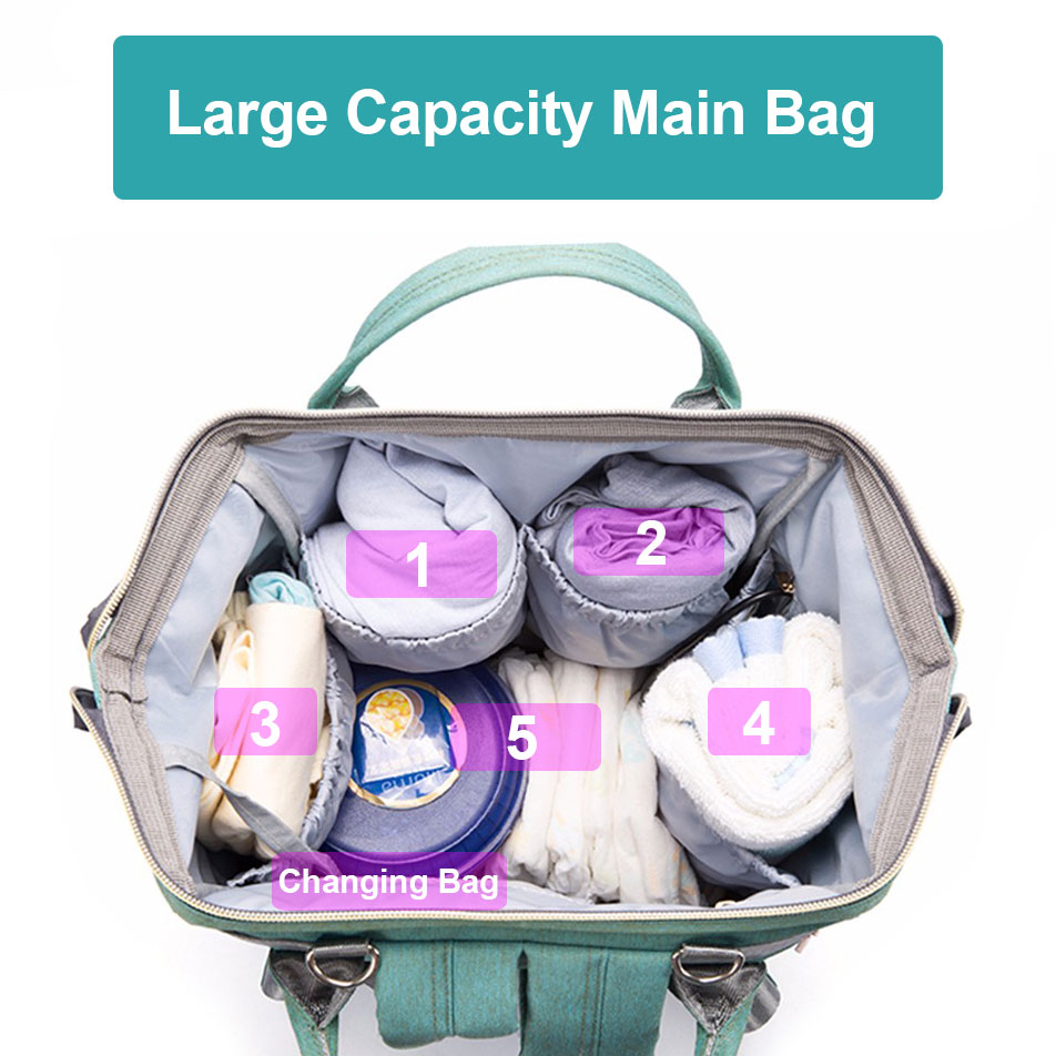H801da49265584f298eccdab5b348acf8G Diaper Bag With USB Interface Large Capacity Travel Backpack Nursing Handbag Waterproof Nappy Bag Kits Mummy Maternity Baby Bag