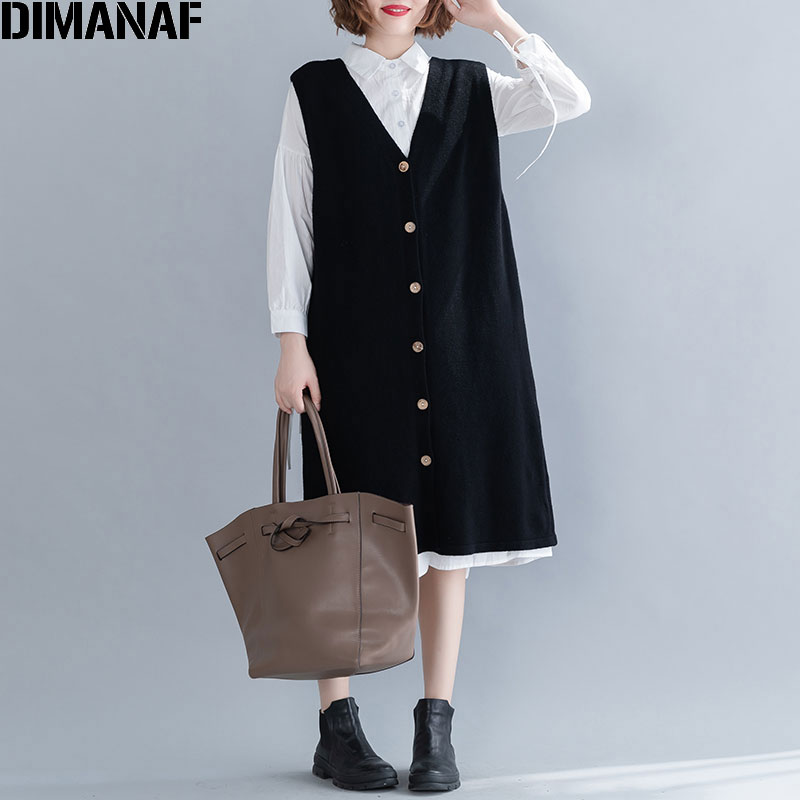 DIMANAF Autumn Winter Plus Size Women Sweater Dress Sleeveless Female Office Lady Vestidos Knitting Wool Loose Solid Button Warm