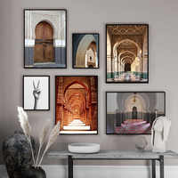 Famous Buildings Pictures HD Print Vintage Morocco Door Art Posters Nordic Canvas Paintings Wall Decor for Living Room Artwork