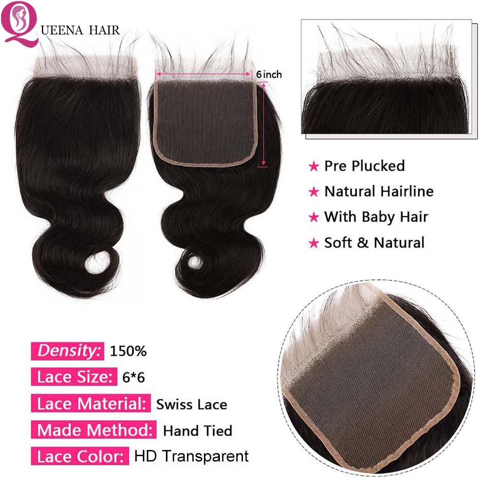 HD-Lace-Closure-With-Bundles-6x6-Transparent-Lace-Closure-And-Bundles-Remy-Mongolian-Body-Wave-Human