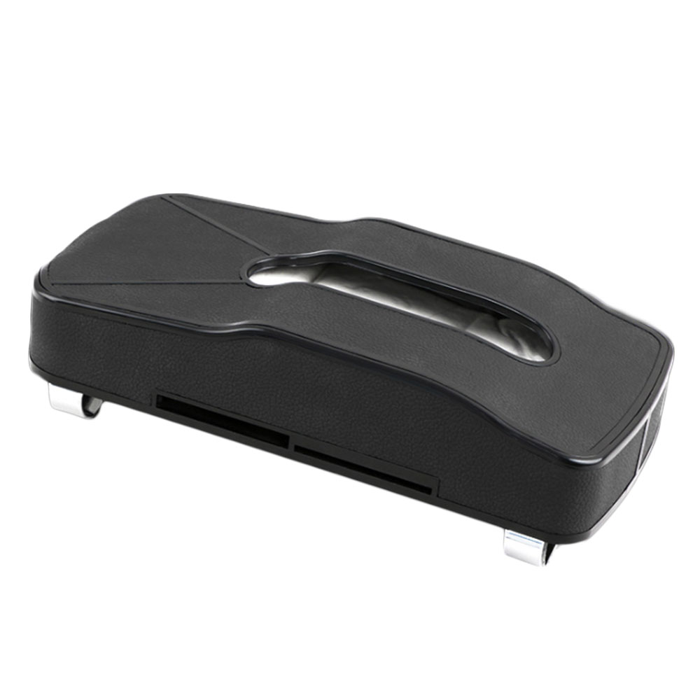 Car Tissue Box Sun Visor Hanging Tissue Boxes Car Seat Back Napkin Holder With Card Slots PU Leather