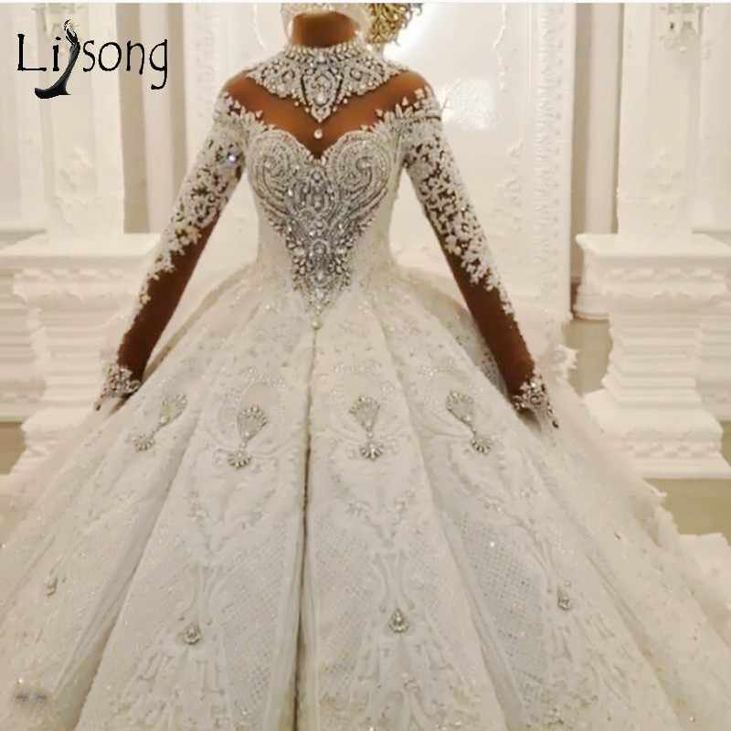 Luxury Dubai Crystal Rhinestone Wedding Dresses Lace Appliques Full Sleeves Puffy Ball Gowns 3D Flower Bridal Dress 2020