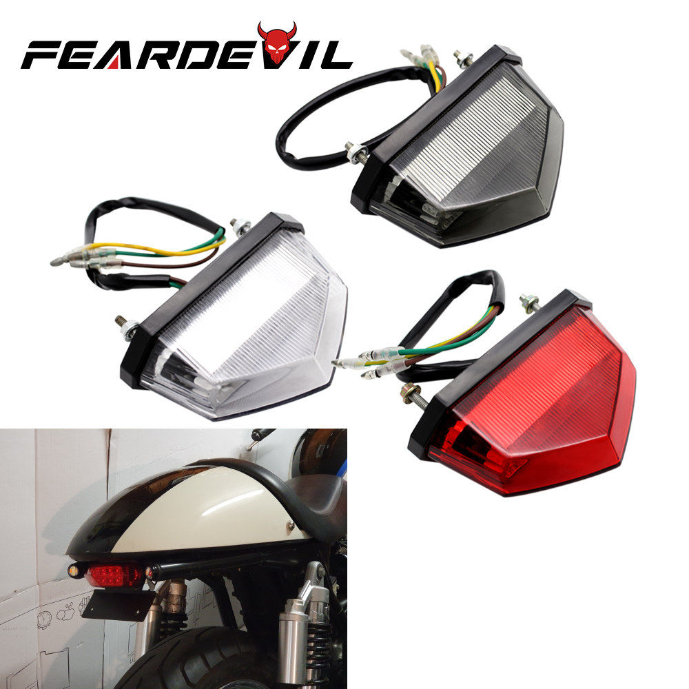 Feardevil Motorcycle Brake Light 12V LED Red Rear Brake Tail Stop Light ATV Dirt Bike Taillight Rear License Decorative Lamp