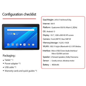 """Image 5 - Lenovo Tablet 10,1 """"HD Screen 2GB 16GB Dual Kamera Computer Tablet Dual Stereo Dolby Sound Wirkung 4850mAh Android 9,0 Wi Fi"""