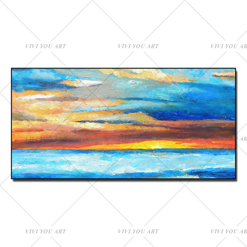 Sunset Sea Beach handpainted oil Painting simple abstract artwork Wall Art Picture for Living Room Hotel Decor
