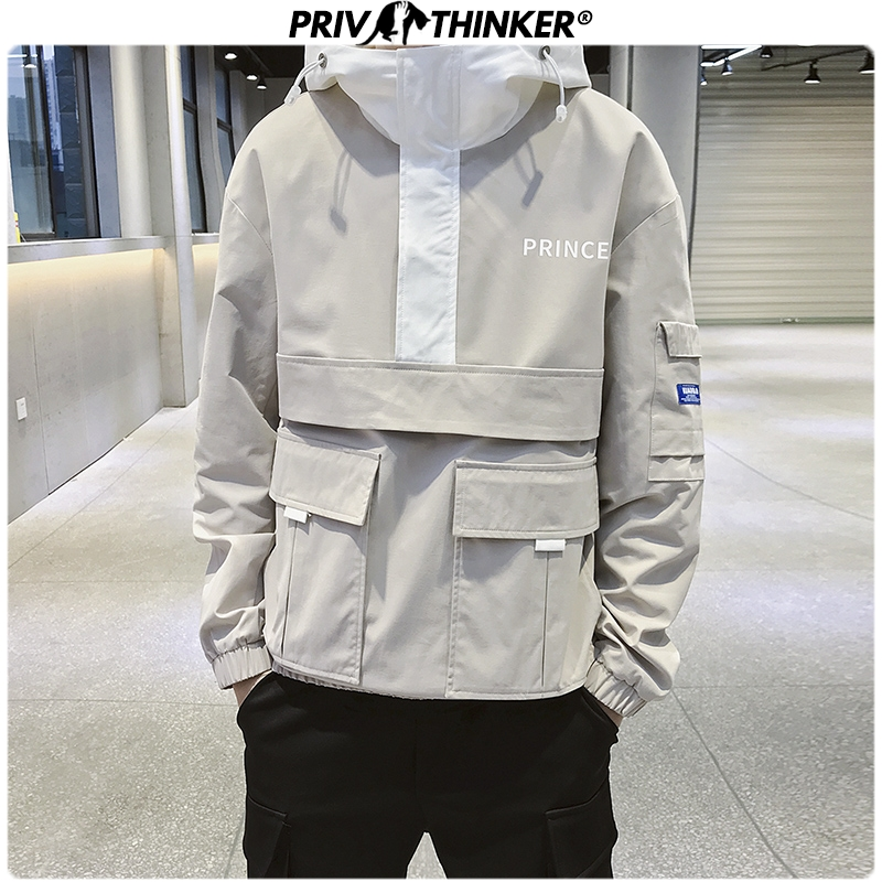 Privathinker Men Spring Safari Style Fashion Jackets 2020 Mens Hip Hop Hooded Jacket Coat Male Oversize Korean Streetwear Tops