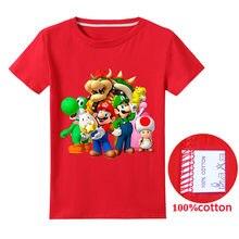 Crianças de verão roupas meninos super mario t camisa de algodão manga curta camiseta garoto casual bonito t-camisa 3-15years