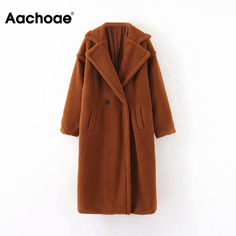Winter Casual Solid Teddy Coat Women Long Sleeve Fleece Long Jacket Lady Turn Down Collar Lamb Fur Coat Outerwear Fourrure Femme